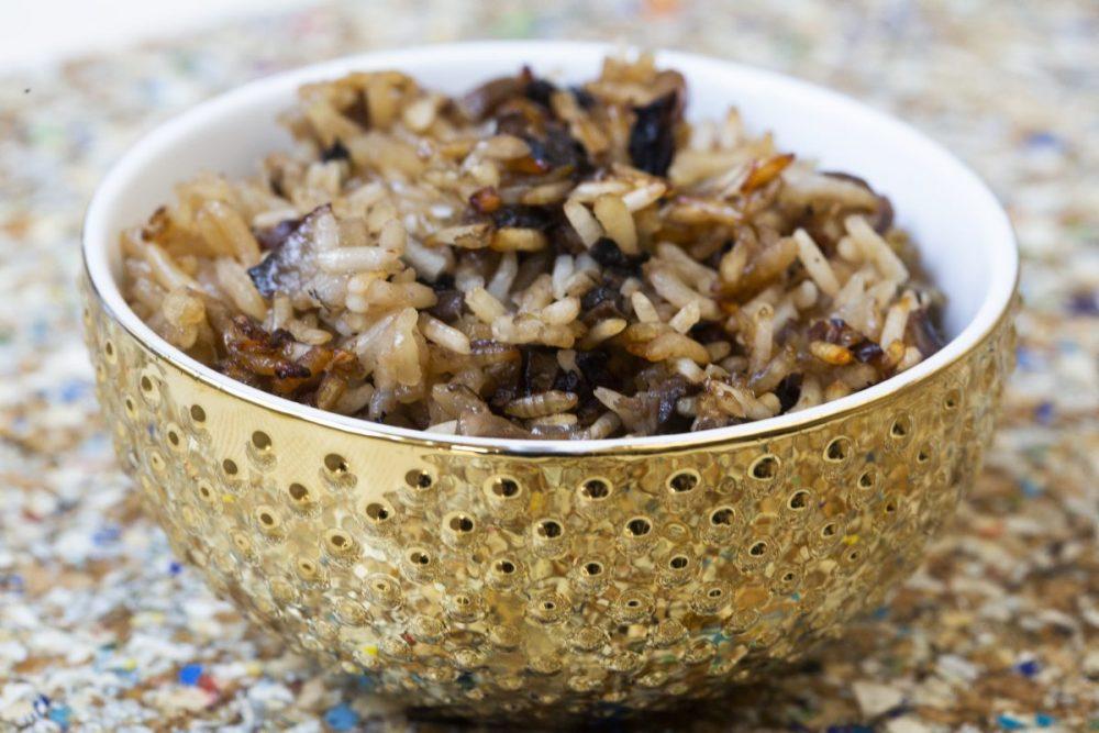 מנה אורז פטריות ערמונים